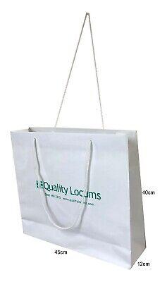 70 Strong Designer Paper White Kraft Carrier / Gift Bags Misprinted 40x45x12cm