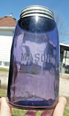 "NICE PURPLE ""MASON"" STRAIT LINE FRUIT JAR W/ZINC LID QUART 1910s ERA CLEAN L@@K"