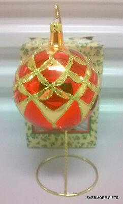 "GLASS 4"" RED & GOLD GLITTER CHRISTMAS ORNAMENT NEW IN BOX NIB"