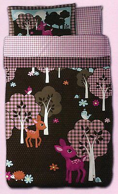 Just For Kids Girls Woodland Story 5pcs Twin Bed Set - Bed in a Bag