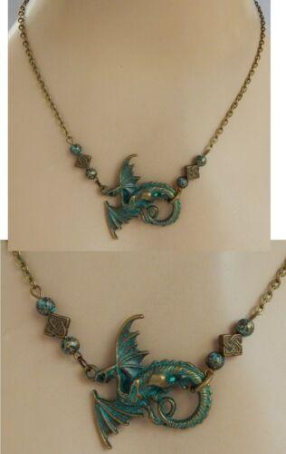 Dragon Necklace Gold Green Pendant Jewelry Handmade NEW Chain Fashion Accessory