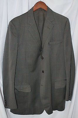 H Huntsman 40L Bespoke 60S Gray Orange Plaid Sport Coat Made In England Wool
