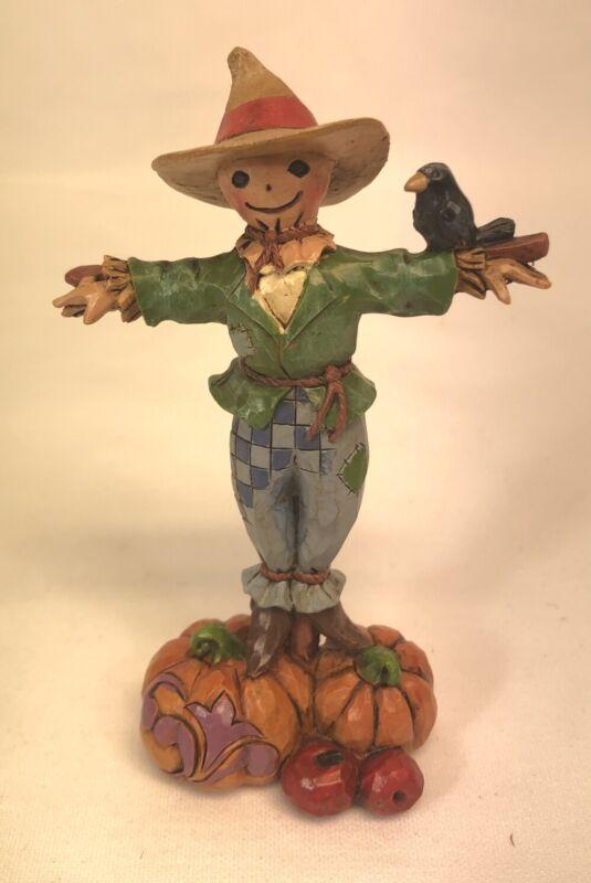 "Jim Shore Heartwood Mini Figurine - Scarecrow Pumpkin Crow - 4041466 - 4"" Rare"