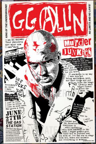 G.G. Allin final live show poster 1993 Murder Junkies, Jefferson Wood