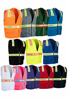 Variety Of Colors Solid Hi-vis Reflective Tape Safety Vest With Pockets 8038