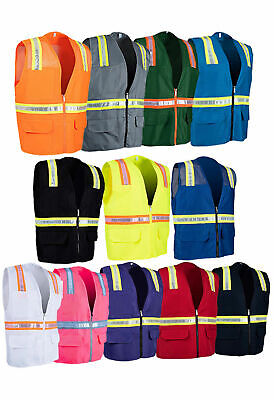 Solid Hi-Vis Reflective Tape Safety Vest with Pockets 8038