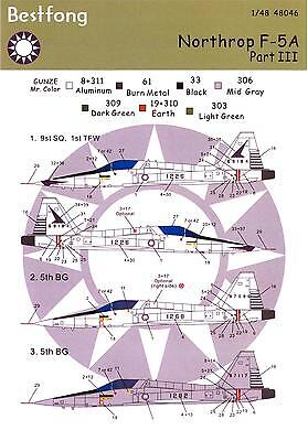 Bestfong Decals 1/48 NORTHROP F-5A FREEDOM FIGHTER Republic of China AF Part 3 for sale  USA