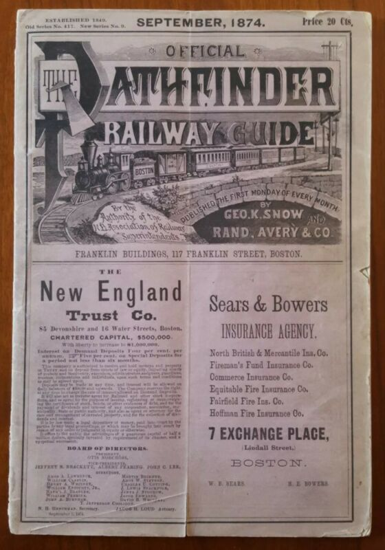 Official Pathfinder Railway Guide 1874 Great Rail Steamship Travel ads * Loaded