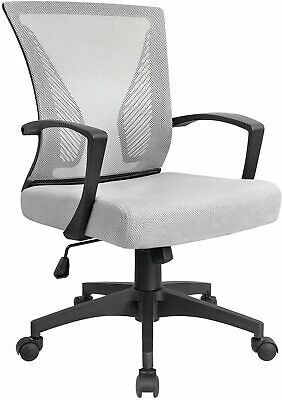 Office Chair Mesh Mid Back Ergonomic Computer Chair Lumbar Support Swilvel Desk