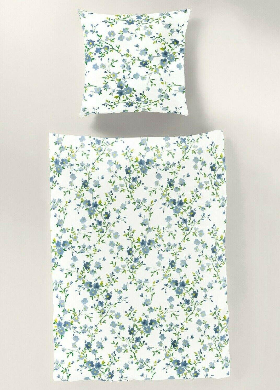 Bierbaum Baumwolle Fein Biber Bettwäsche 135x200 Blumen blau bunt 4tlg 1B