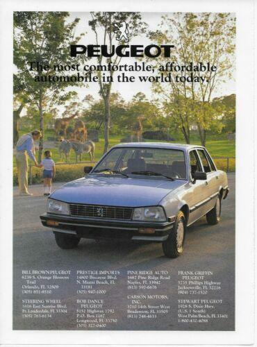 1985 1986 Peugeot 505 Turbo  Silver Kid Zoo Original Car Vintage Poster Print Ad