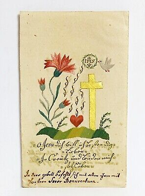 Embroidery Picture Heart Jesus Blossoms Pigeon um 1800 Devotion Holy Pilgrimage