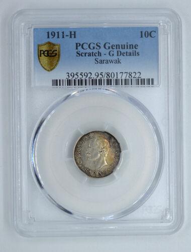 PCGS 1911 Sarawak Silver 10 Cents rare!