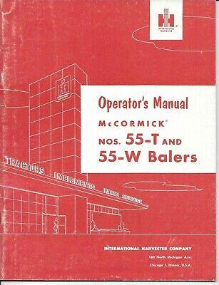 Vintage Original 1957 Operators Manual For International 55-t 55-w Balers Ihc