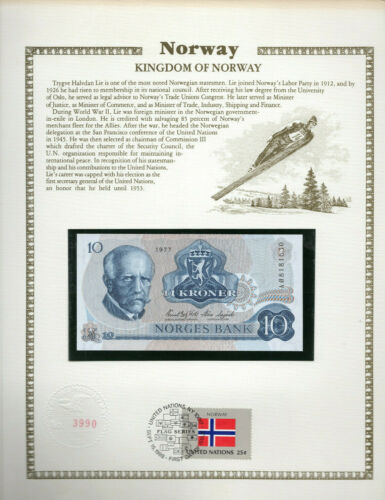 Norway 10 kroner P 36c 1977 UNC with UN FDI FLAG STAMP Prefix AØ