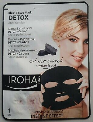 Iroha Nature Black Tissue Face Mask Charcoal & Hyaluronic Acid Intensive 1 Use