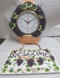 ACK Tuscany Grape 3-D Ceramic Hand Painted Wall Clock and Welcome Plaque New