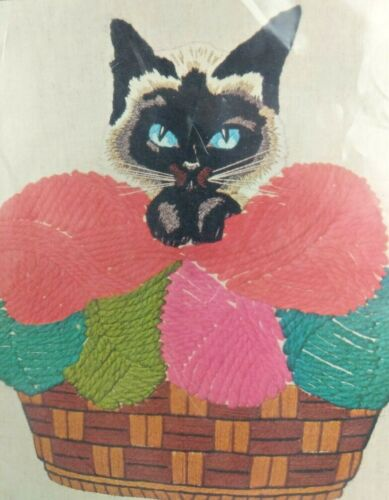 Vintage Bucilla Crewel Kit Siamese Cat Wall Hanging Picture Ping Pong 1961 NEW