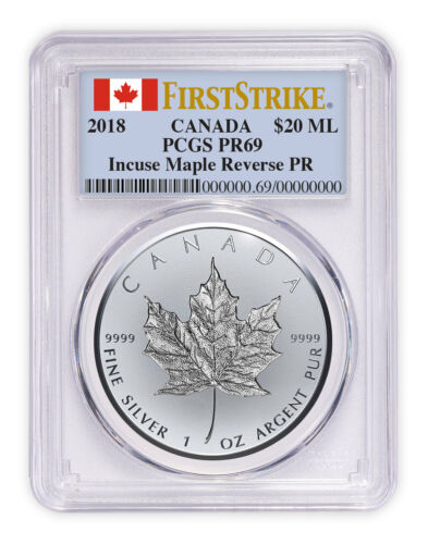 2018 Canada 1 oz Silver Maple Incuse Reverse PF PCGS PR69 SKU52803
