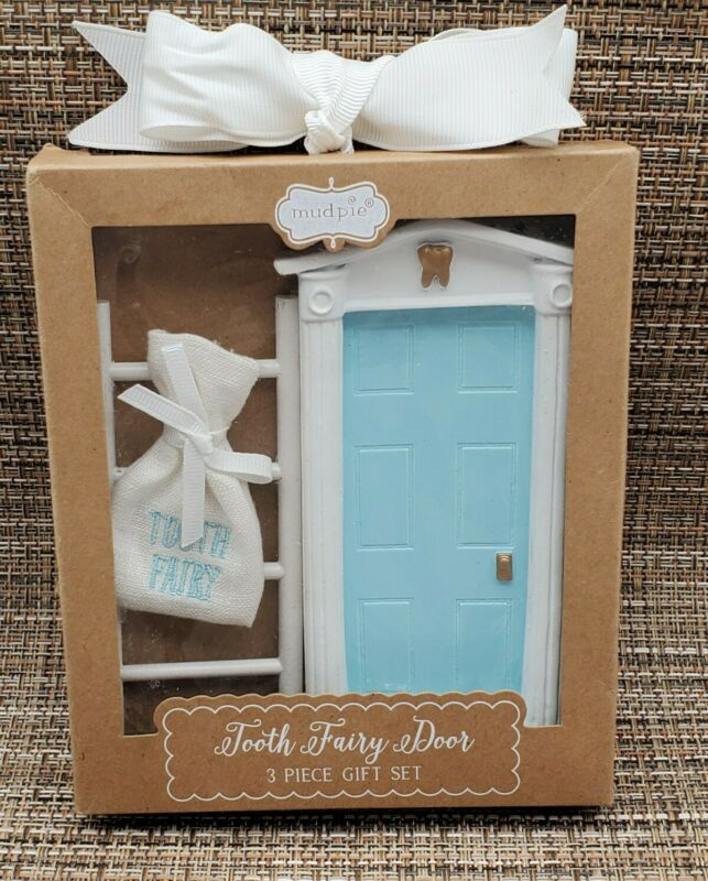 Tooth Fairy Keepsake By Mud Pie-3 Piece Gift Set Door-Ladder-Pouch - NIB