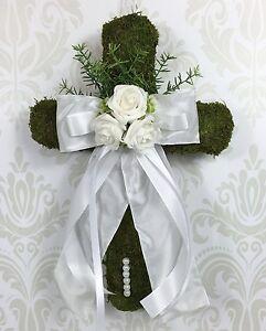 Türschmuck Türdeko Kreuz Moos Kommunion Taufe Konfirmation Hochzeit Türkranz