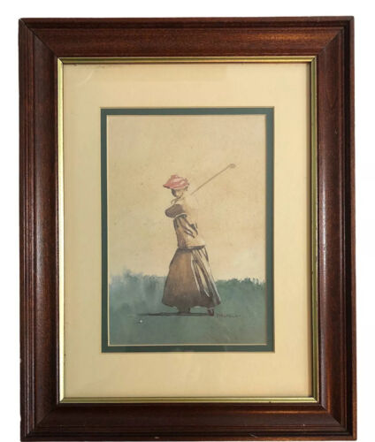 Vintage D Nichols Woman Golfer Golf Watercolor Art Print Wood Frame Matted  - $36.00