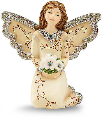 Elements December Monthly Angel Figurine, Includes Blue Topaz Birthstone, 3in
