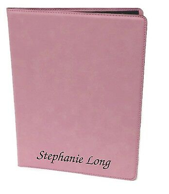 Personalized Jr. Portfolio Pink Leatherette Engraved Free Padfolio Note Pad