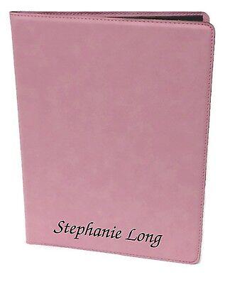 Personalized Jr. Portfolio Pink Leatherette Engraved Free Padfolio Note Pad
