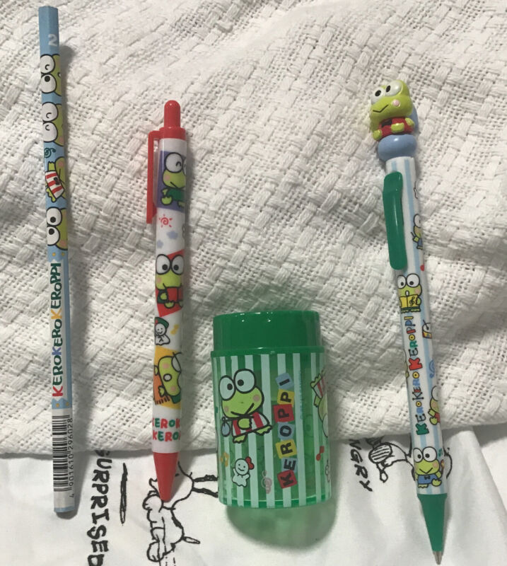 Keroppi Lot Of Pencils,Pen,& Pencil Sharperner