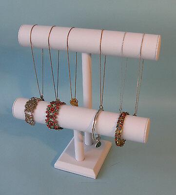 12h White Leather Jewelry Display 2 T Bar Bracelet Bangle Watch Chain Pj56w1