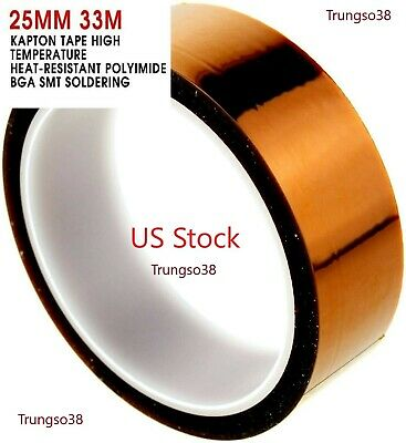 25mm 33m Kapton Tape High Temperature Heat Resistant Polyimide Gold 1 36yards