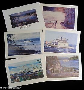 6-Gig-Harbor-South-Puget-Sound-Ferry-Blank-Greeting-Note-Cards-Marshall-Johnson