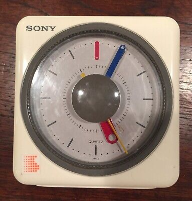 1980's Sony White Cube AM/FM Alarm Clock Radio—Sony ICF-A10W—Works