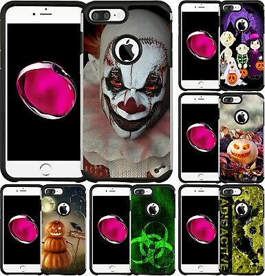 For iPhone 5 SE 6 6S 7 8 PLUS Slim Hybrid Case Phone Cover Scary Clown Halloween (Halloween Costumes For 6)