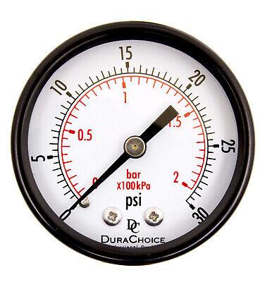 2 Utility Pressure Gauge 14 Npt Ctr. Back Mnt. Blk. Steel Case 0-30 Psi