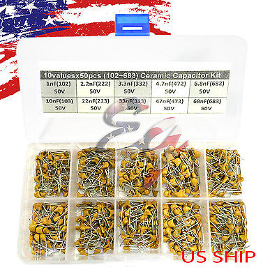 10 Types X 50 1nf68nf 102683 Monolithic Ceramic Capacitor Assorted Kit Box