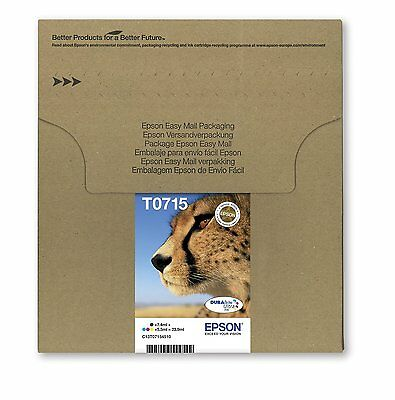 Original Epson T0715 DuraBrite Ultra Cheetah 4 Colour Multipack  Ink Cartridges,