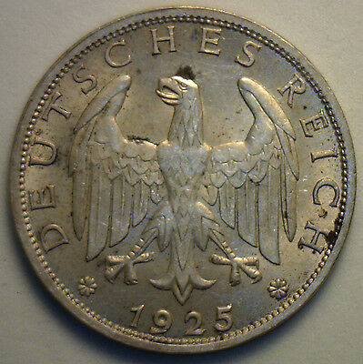 1925 A German Silver 1 Mark Coin Uncirculated