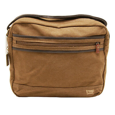 Troop London - Brown Classic Canvas Tablet Friendly Messenger Bag