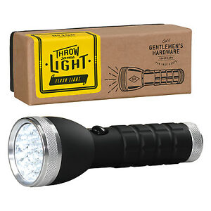 Gentlemen-039-s-Hardware-Plata-LED-Linterna-con-Asa-Negra-en-caja-regalo