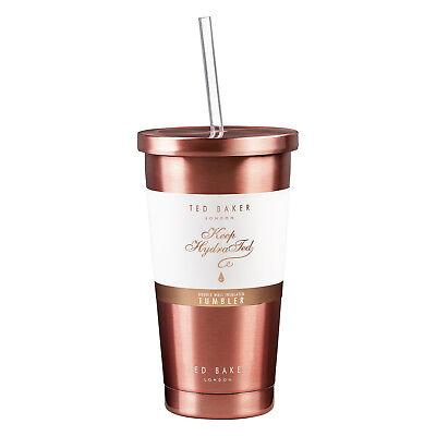 Ted Baker - Rose Gold Stainless Steel Insulated Tumbler with Clear Plastic Straw