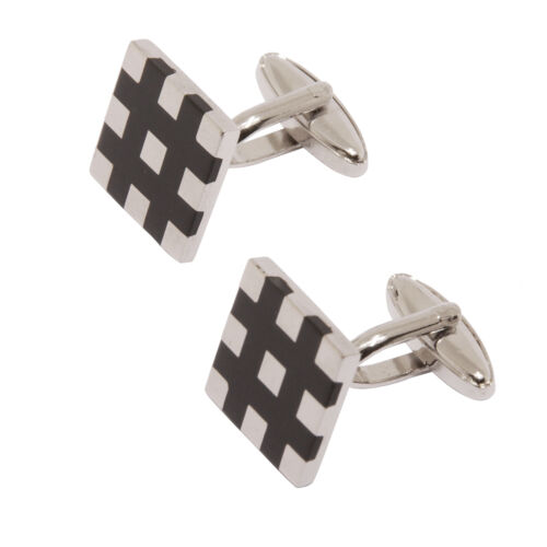 Sophos+-+Polished+Silver+with+Black+Enamel+Checked+Cufflinks+in+Gift+Box
