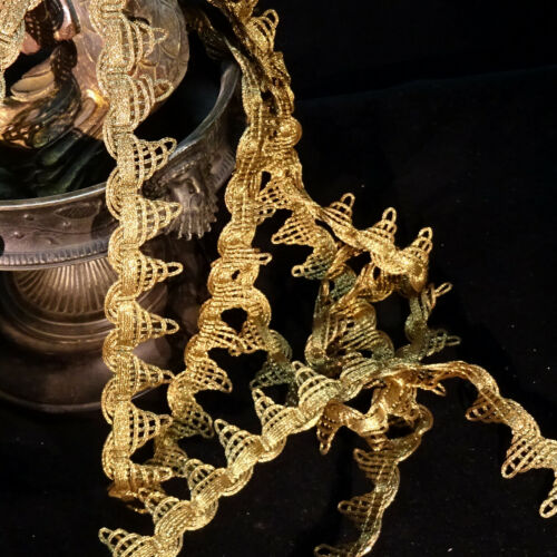 Antique heavy Gold Bronze metallic trim ruche ruffle lace high metal content 1""