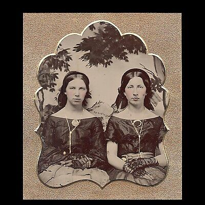Beautiful Civil War 6th plate Ruby ambrotype of young women