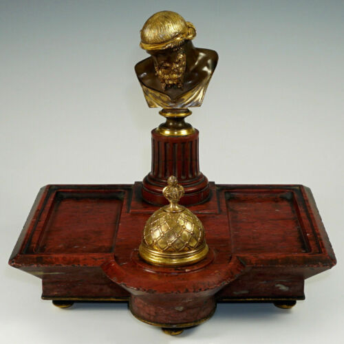 Signed Antique French Gilt Bronze Inkwell Ferdinand Barbedienne Paris Red Marble
