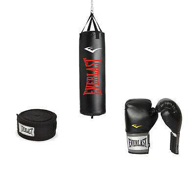 Everlast 100 LB Nevatear Heavy Bag Boxing Kit w/ Pro-Style Gloves and Hand Wraps