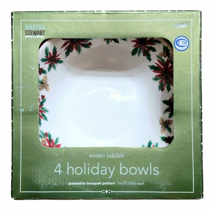 (4) NIB Martha Stewart Everyday Winter Jubilee Poinsettia Bouquet Pattern Bowls