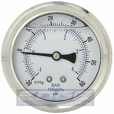 Liquid Filled Vacuum Gauge -30-60 Psi 2.5 Face 14 Back Mount Wog