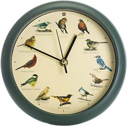The Original Singing Bird Wall / Desk Sound Clock, 8 Inch, Green